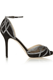 Jimmy Choo Mambo textured-lamé and suede sandals