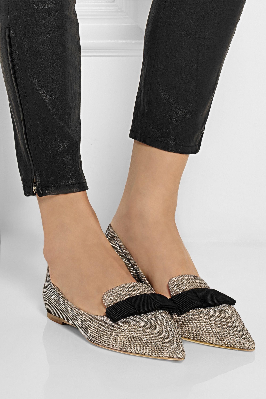 Bronze Gala textured-lamé point-toe