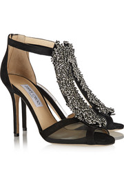 Jimmy Choo Feline bead-embellished suede and mesh sandals