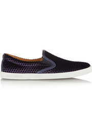 Jimmy Choo Demi flocked velvet slip-on sneakers