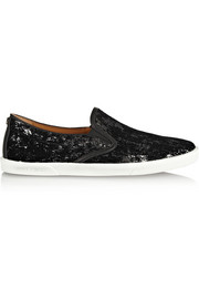 Jimmy Choo Demi flocked sequined slip-on sneakers