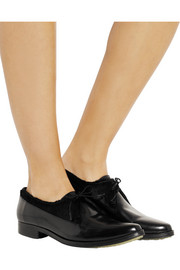 Adieu Type 30 glossed-leather and calf hair point-toe brogues