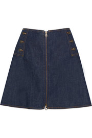 See by Chloé Flared stretch-denim mini skirt