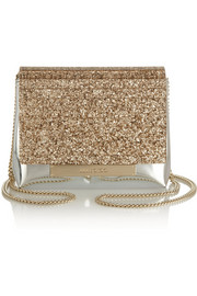 Jimmy Choo Cleo leather and glitter-finished acrylic shoulder bag