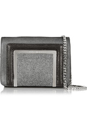 Jimmy Choo Ava glittered suede and lamé shoulder bag