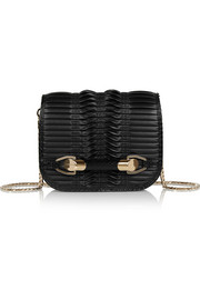 Jimmy Choo Zadie small elaphe-trimmed pleated leather shoulder bag