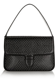 Alaïa Double Pocket embellished textured-leather shoulder bag
