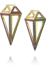 Noor Fares Pendulum 18-karat gold multi-stone earrings