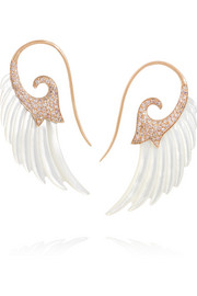 Wing 18-karat rose gold, mother of pearl and diamond earrings
