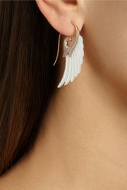 Noor Fares Wing 18-karat rose gold, mother of pearl and diamond earrings