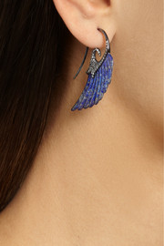 Noor Fares Wing 18-karat blue gold, lapis lazuli and diamond earrings