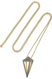 Noor Fares Pendulum 18-karat gold diamond necklace