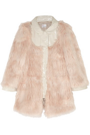 Patent-paneled faux fur coat