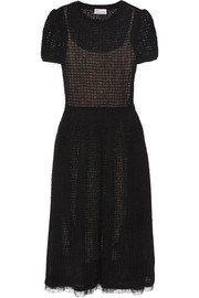 REDValentino Point d'esprit-trimmed crochet-knit midi dress