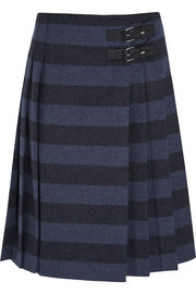 Striped brushed wool-blend wrap skirt