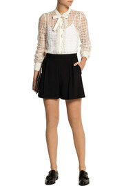 REDValentino Organza-paneled point d'esprit blouse