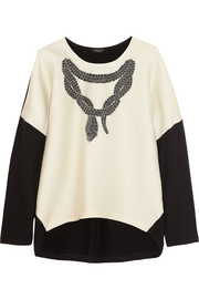 Giambattista Valli Paneled embroidered satin-twill and cotton top