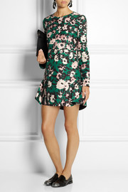 Marni Printed cotton and silk-blend twill mini dress