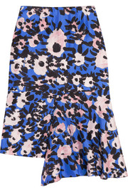 Marni Printed draped silk-twill skirt