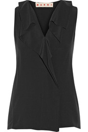 Marni Ruffled silk-crepe top