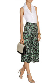 Marni Pleated floral-print silk midi skirt