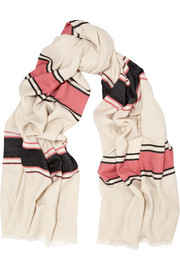 Jasmin striped cashmere and wool-blend scarf