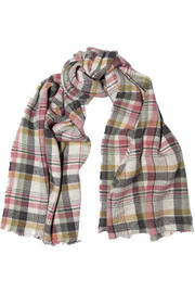 Isabel Marant Matt plaid linen and wool-blend scarf