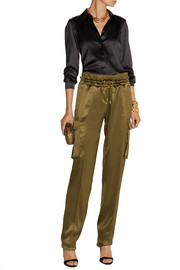 Balmain Silk-satin cargo pants