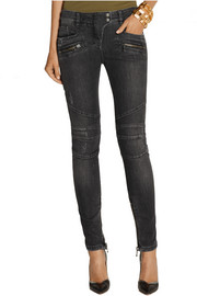 Balmain Moto-style distressed mid-rise skinny jeans