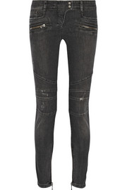 Moto-style distressed mid-rise skinny jeans