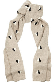 Queen of Hearts intarsia wool scarf