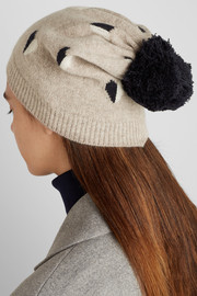 Chinti and Parker Queen of Hearts intarsia wool beanie