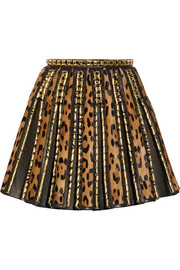 Balmain Embellished leopard-print calf hair and leather mini skirt