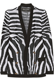 Balmain Zebra-patterned jacquard-knit cardigan