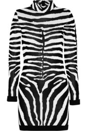 Balmain Zebra-patterned jacquard-jersey mini dress
