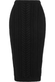 Balmain Cable-knit wool skirt