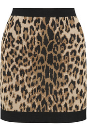 Balmain Leopard-jacquard stretch-knit mini skirt