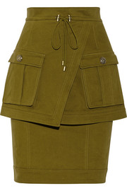 Balmain Brushed cotton-blend twill skirt
