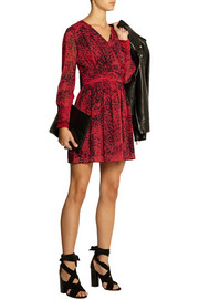Pierre Balmain Animal-print silk-georgette mini dress