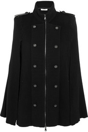 Pierre Balmain Leather-trimmed wool and cashmere-blend cape
