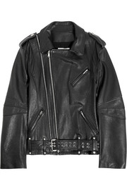 Pierre Balmain Textured-leather biker jacket