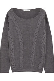 Pierre Balmain Braid-paneled wool sweater