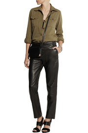 Pierre Balmain Leather straight-leg pants