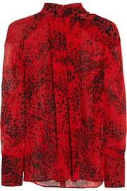 Pierre Balmain Animal-print silk-georgette blouse