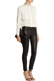 Pierre Balmain Embellished mulberry silk-georgette blouse