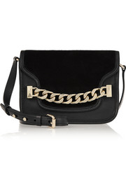 Karl Lagerfeld K/Chain textured-leather and suede shoulder bag