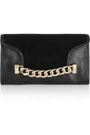Karl Lagerfeld K/Chain embellished leather and suede clutch