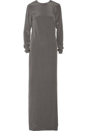 Jeanetti draped-back washed-silk gown