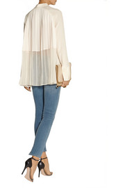 By Malene Birger Ronida paneled silk-crepe and chiffon top
