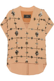 By Malene Birger Mylene embellished crepe top